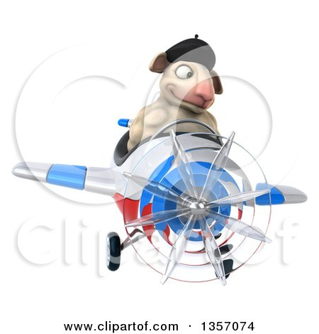 Clipart of a 3d French Sheep Aviatior Pilot Flying a White Blue and Red Airplane, on a White Background - Royalty Free Illustration by Julos