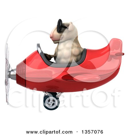 Clipart of a 3d Sheep Aviatior Pilot Wearing Sunglasses and Flying a Red Airplane, on a White Background - Royalty Free Illustration by Julos