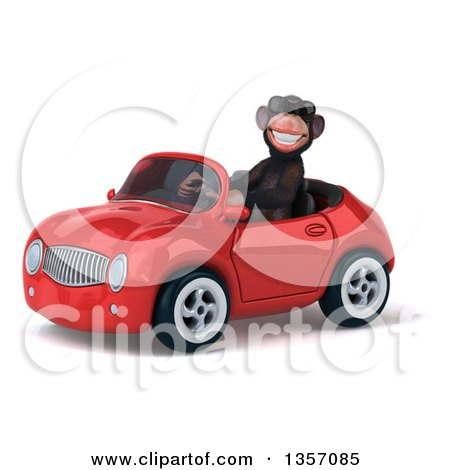 Clipart of a 3d Chimpanzee Monkey Wearing Sunglasses and Driving a Red Convertible Car, on a White Background - Royalty Free Illustration by Julos