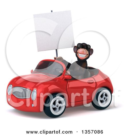 Clipart of a 3d Chimpanzee Monkey Wearing Sunglasses, Holding a Blank Sign and Driving a Red Convertible Car, on a White Background - Royalty Free Illustration by Julos