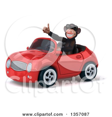 Clipart of a 3d Chimpanzee Monkey Wearing Sunglasses, Giving a Thumb up and Driving a Red Convertible Car, on a White Background - Royalty Free Illustration by Julos