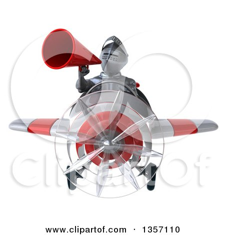 Clipart of a 3d Armored Chevallier Knight Aviator Pilot Using a Megaphone and Flying a White and Red Airplane, on a White Background - Royalty Free Illustration by Julos