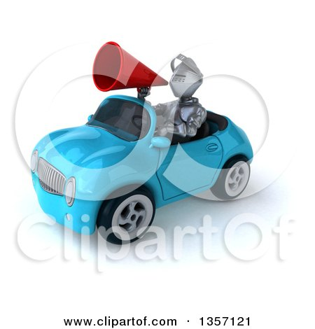 Clipart of a 3d Armored Chevallier Knight Using a Megaphone and Driving a Blue Convertible Car, on a White Background - Royalty Free Illustration by Julos