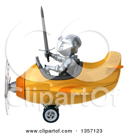 Clipart of a 3d Armored Chevallier Knight Aviator Pilot Flying a Yellow Airplane, on a White Background - Royalty Free Illustration by Julos