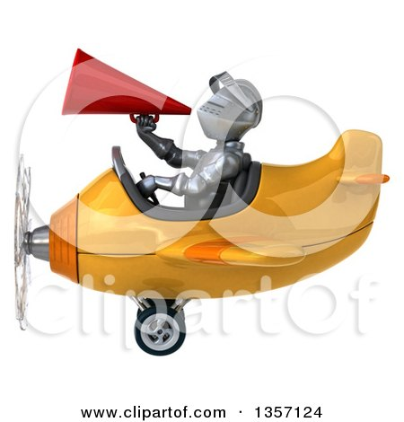 Clipart of a 3d Armored Chevallier Knight Aviator Pilot Using a Megaphone and Flying a Yellow Airplane, on a White Background - Royalty Free Illustration by Julos