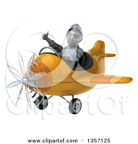 Clipart of a 3d Armored Chevallier Knight Aviator Pilot Giving a Thumb up and Flying a Yellow Airplane, on a White Background - Royalty Free Illustration by Julos