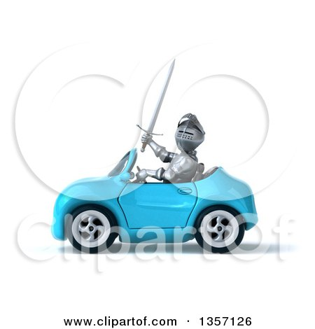 Clipart of a 3d Armored Chevallier Knight Driving a Blue Convertible Car, on a White Background - Royalty Free Illustration by Julos