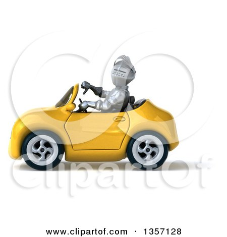 Clipart of a 3d Armored Chevallier Knight Giving a Thumb down and Driving a Yellow Convertible Car, on a White Background - Royalty Free Illustration by Julos