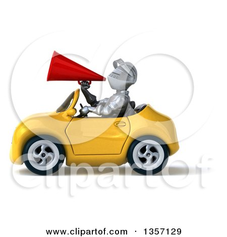 Clipart of a 3d Armored Chevallier Knight Using a Megaphone and Driving a Yellow Convertible Car, on a White Background - Royalty Free Illustration by Julos