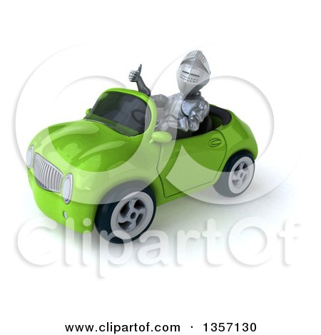 Clipart of a 3d Armored Chevallier Knight Giving a Thumb up and Driving a Green Convertible Car, on a White Background - Royalty Free Illustration by Julos