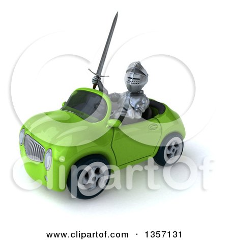 Clipart of a 3d Armored Chevallier Knight Driving a Green Convertible Car, on a White Background - Royalty Free Illustration by Julos