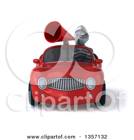 Clipart of a 3d Armored Chevallier Knight Using a Megaphone and Driving a Red Convertible Car, on a White Background - Royalty Free Illustration by Julos