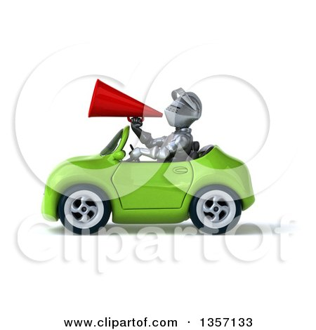 Clipart of a 3d Armored Chevallier Knight Using a Megaphone and Driving a Green Convertible Car, on a White Background - Royalty Free Illustration by Julos