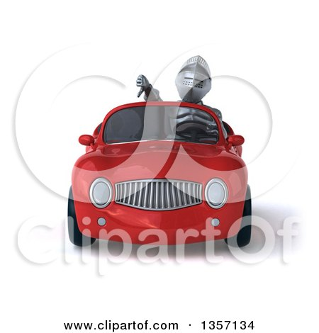 Clipart of a 3d Armored Chevallier Knight Giving a Thumb down and Driving a Red Convertible Car, on a White Background - Royalty Free Illustration by Julos