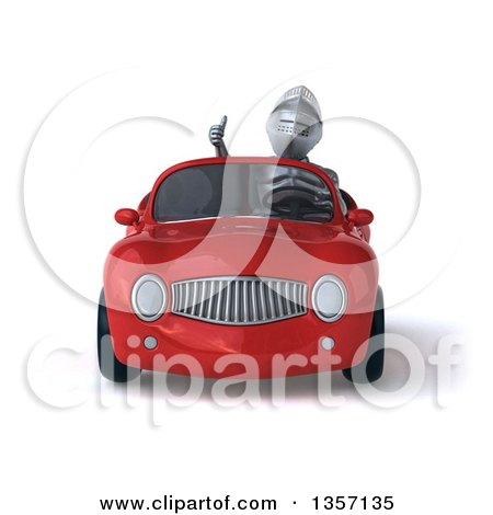 Clipart of a 3d Armored Chevallier Knight Giving a Thumb up and Driving a Red Convertible Car, on a White Background - Royalty Free Illustration by Julos