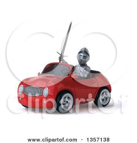 Clipart of a 3d Armored Chevallier Knight Driving a Red Convertible Car, on a White Background - Royalty Free Illustration by Julos