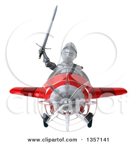 Clipart of a 3d Armored Chevallier Knight Aviator Pilot Flying a Red Airplane, on a White Background - Royalty Free Illustration by Julos