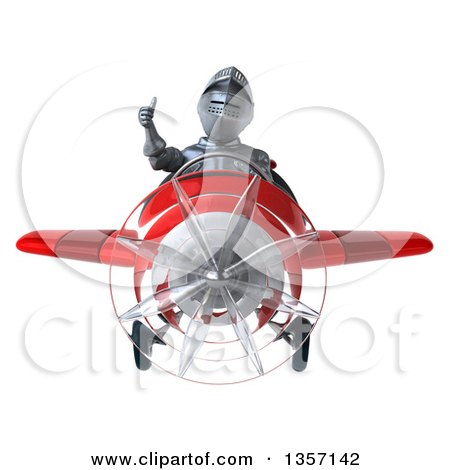 Clipart of a 3d Armored Chevallier Knight Aviator Pilot Giving a Thumb up and Flying a Red Airplane, on a White Background - Royalty Free Illustration by Julos
