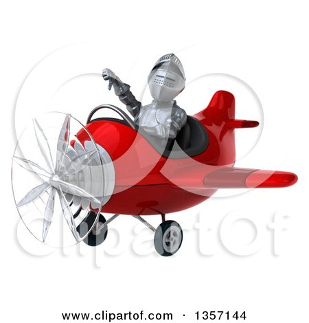 Clipart of a 3d Armored Chevallier Knight Aviator Pilot Giving a Thumb down and Flying a Red Airplane, on a White Background - Royalty Free Illustration by Julos