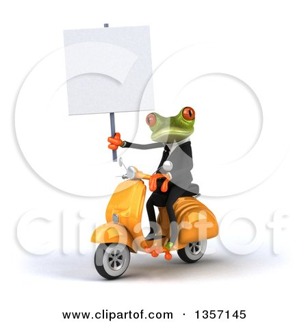 Clipart of a 3d Green Business Frog Holding a Blank Sign and Riding a Yellow Scooter, on a White Background - Royalty Free Illustration by Julos