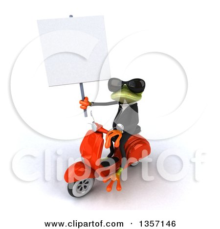 Clipart of a 3d Green Business Frog Wearing Sunglasses, Holding a Blank Sign and Riding an Orange Scooter, on a White Background - Royalty Free Illustration by Julos