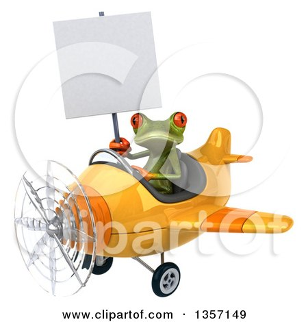 Clipart of a 3d Green Springer Frog Aviator Pilot Holding a Blank Sign and Flying a Yellow Airplane, on a White Background - Royalty Free Illustration by Julos