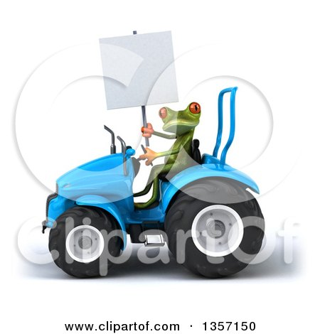 Clipart of a 3d Green Springer Frog Holding a Blank Sign and Operating a Blue Tractor, on a White Background - Royalty Free Illustration by Julos