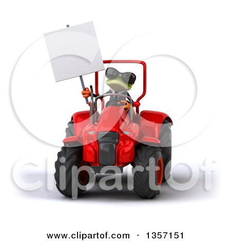 Clipart of a 3d Green Business Frog Wearing Sunglasses, Holding a Blank Sign and Operating a Red Tractor, on a White Background - Royalty Free Illustration by Julos