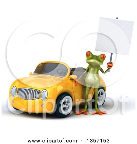 Clipart of a 3d Green Springer Frog Holding a Blank Sign by a Yellow Convertible Car, on a White Background - Royalty Free Illustration by Julos