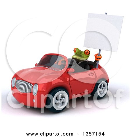 Clipart of a 3d Green Business Frog Holding a Blank Sign and Driving a Red Convertible Car, on a White Background - Royalty Free Illustration by Julos