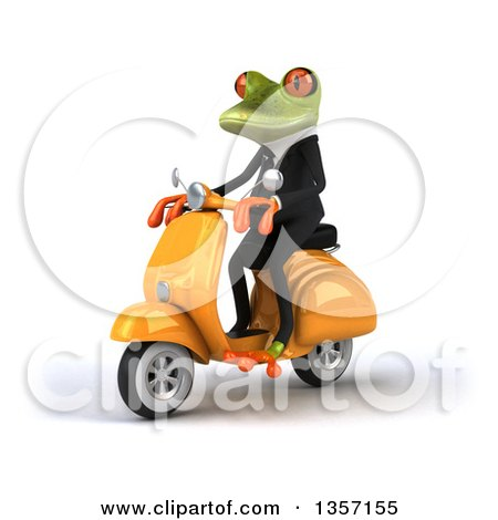 Clipart of a 3d Green Business Frog Riding a Yellow Scooter, on a White Background - Royalty Free Illustration by Julos