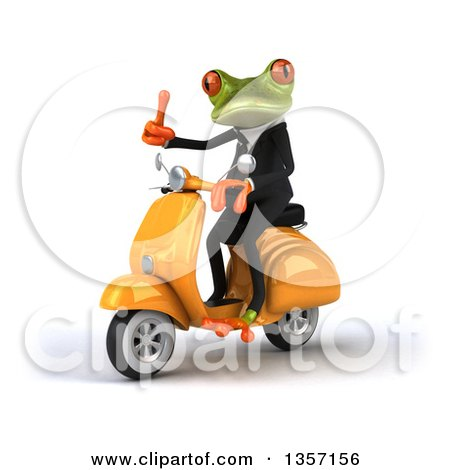 Clipart of a 3d Green Business Frog Giving a Thumb up and Riding a Yellow Scooter, on a White Background - Royalty Free Illustration by Julos