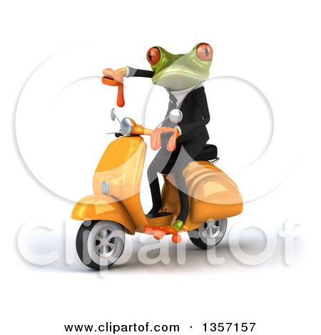Clipart of a 3d Green Business Frog Giving a Thumb down and Riding a Yellow Scooter, on a White Background - Royalty Free Illustration by Julos