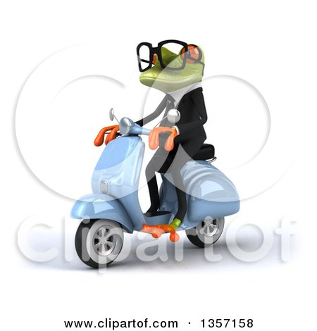 Clipart of a 3d Green Bespectacled Business Frog Riding a Blue Scooter, on a White Background - Royalty Free Illustration by Julos