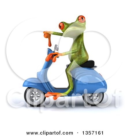 Clipart of a 3d Green Springer Frog Giving a Thumb down and Riding a Blue Scooter, on a White Background - Royalty Free Illustration by Julos
