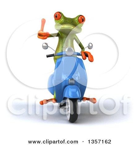 Clipart of a 3d Green Springer Frog Giving a Thumb up and Riding a Blue Scooter, on a White Background - Royalty Free Illustration by Julos