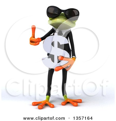Clipart of a 3d Green Business Frog Wearing Sunglasses, Holding a Dollar Currency Symbol and Giving a Thumb Up, on a White Background - Royalty Free Illustration by Julos