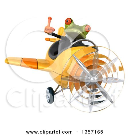 Clipart of a 3d Green Business Frog Giving a Thumb up and Flying a Yellow Airplane, on a White Background - Royalty Free Illustration by Julos