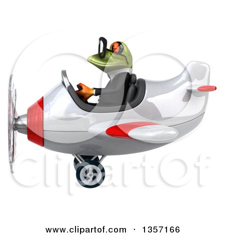 Clipart of a 3d Bespectacled Green Business Frog Flying a Yellow Airplane, on a White Background - Royalty Free Illustration by Julos