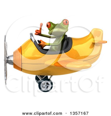 Clipart of a 3d Green Springer Frog Aviator Pilot Giving a Thumb up and Flying a Yellow Airplane, on a White Background - Royalty Free Illustration by Julos