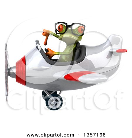 Clipart of a 3d Bespectacled Green Springer Frog Aviator Pilot Giving a Thumb down and Flying a White and Red Airplane, on a White Background - Royalty Free Illustration by Julos