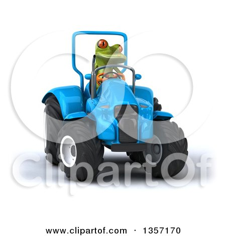 Clipart of a 3d Green Springer Frog Operating a Blue Tractor, on a White Background - Royalty Free Illustration by Julos