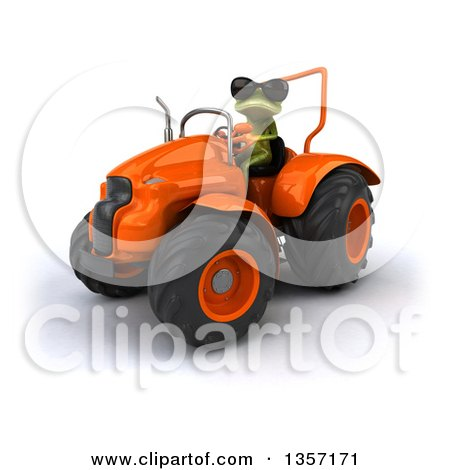 Clipart of a 3d Green Springer Frog Wearing Sunglasses and Operating an Orange Tractor, on a White Background - Royalty Free Illustration by Julos