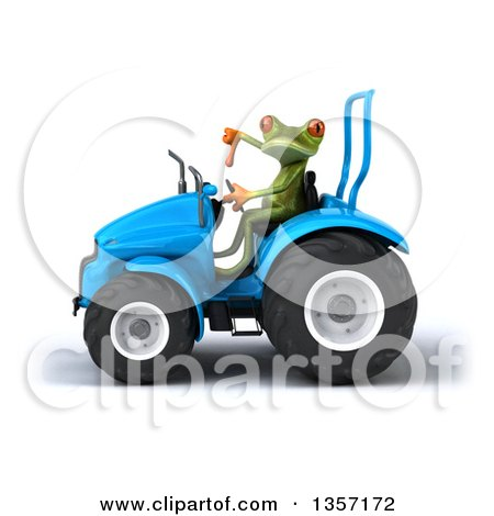 Clipart of a 3d Green Springer Frog Giving a Thumb down and Operating a Blue Tractor, on a White Background - Royalty Free Illustration by Julos