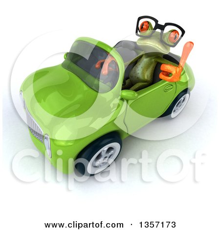 Clipart of a 3d Bespectacled Green Springer Frog Holding up a Thumb and Driving a Convertible Car, on a White Background - Royalty Free Illustration by Julos