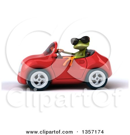 Clipart of a 3d Green Springer Frog Wearing Sunglasses and Driving a Red Convertible Car, on a White Background - Royalty Free Illustration by Julos