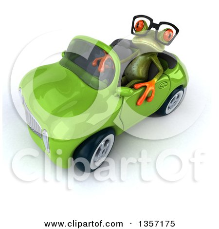 Clipart of a 3d Bespectacled Green Springer Frog Driving a Convertible Car, on a White Background - Royalty Free Illustration by Julos