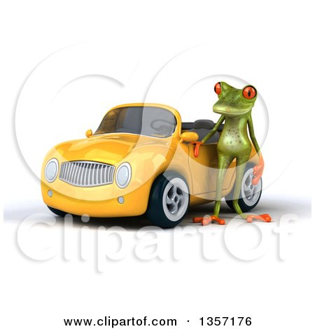 Clipart of a 3d Green Springer Frog by a Yellow Convertible Car, on a White Background - Royalty Free Illustration by Julos
