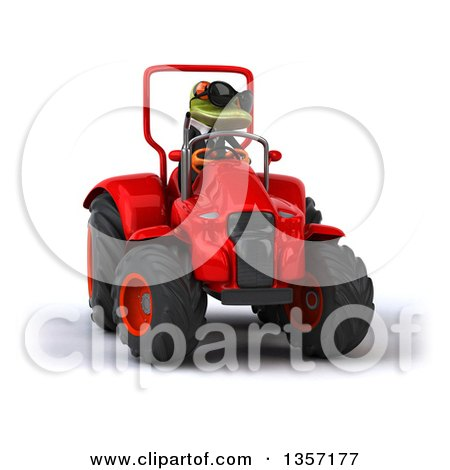 Clipart of a 3d Green Business Frog Wearing Sunglasses and Operating a Red Tractor, on a White Background - Royalty Free Illustration by Julos