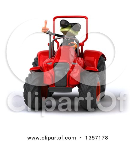 Clipart of a 3d Green Business Frog Wearing Sunglasses, Giving a Thumb up and Operating a Red Tractor, on a White Background - Royalty Free Illustration by Julos
